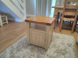 Solid oak side table tv unit with storage