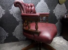 Beautiful Chesterfield Captains Chair Tilt & Turn Oxblood Red