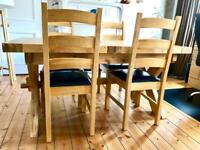 Genuine Oak Extending Dining Table & 4 Leather/Oak Chairs