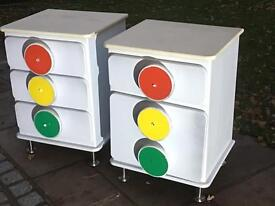 Quality Bedside Cabinets, Traffic Light theme x 2