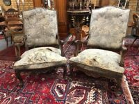 Superb pair of original Louis French armchairs.