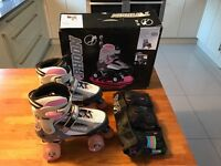 SFR TYPHOON ROLLER SKATES ADJUSTABLE SIZE UK 3 - 6 & RIO ROLLER DISCO PADS - EXCELLENT CONDITION