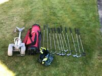 Full set of golf clubs, bag, trolley and assorted balls
