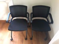 2 STYLISH BLACK MESH OFFICE CHAIRS