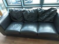 Brown leather 3x & 2x seater sofas