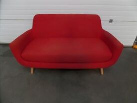 Red Fabric Sofa with Beech Legs