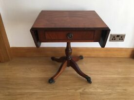 Antique occasional drop leaf table with drawer