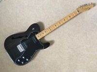 Fender Modern Player Telecaster Thinline Deluxe Electric Guitar, Black Transparent