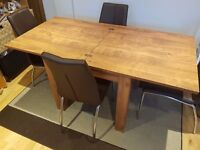 Fold-Out Dining Table + 4 Chairs / 4 Seat to 6 Seat / From NEXT / Table VGC / Brown Wood Effect