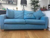 Blue 3 seater sofa