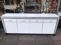 Large Mirrored & White Glass Sideboard