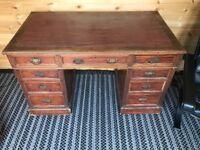 Edwardian 9 Drawer Pedestal Desk
