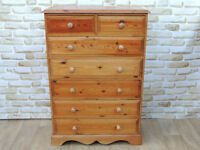Huge Welsh Pine Tallboy Chest of Drawers with Dovetail joints (Delivery)
