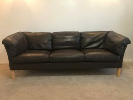 Danish vintage Borge Mogensen style 1970's three-seater brown leather sofa