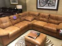 Leather Corner sofa and foot stool