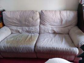 Leather Cream Reclining Sofa