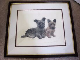 Framed Original signed Colour Etching Print of two Skye/Cairn terriers by Kurt Meyer Eberhardt