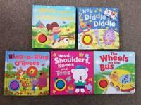 5 x Hard Back Childrens Nursery Rhyme Sound Books