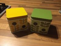Orla Kiely small Tins x 2, slight fade to lids, never had anything in