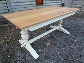 Stunning 6ft Solid Oak Refectory Dining Table by Old Charm Painted Farrow & Ball - Osmo Polyx Oil