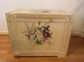 Cream and floral vintage chest ottoman toy box trunk shabby chic