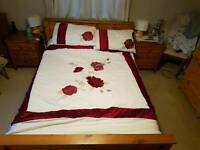 Solid wood Kingsize Bed with mattress and topper