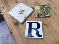 Set of 3 Old Victorian Reclaimed Porcelain Enamelled Tiles