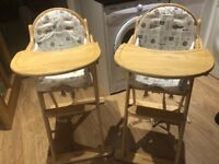 Two Mothercare wooden high chairs