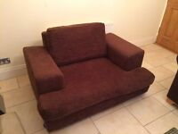 Large Brown Fabric Armchair