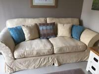 Lovely loose cover DFS 'Vienna' style champagne colour 3-seater Sofa