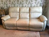 2 piece electronically reclining suite, arm chair and 3 seater sofa in cream leather.