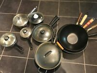 Frying pans/woks/pots with/without lids £3 - £8 each
