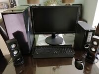 Desktop PC, Monitor, Keyboard, Speakers. Complete & ready to use