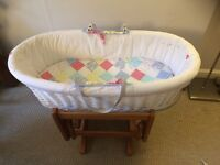 Mothercare Moses Basket and Stand with Rocking/ Gliding motion.