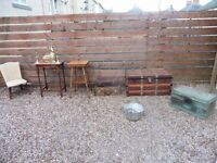 VINTAGE/ANTIQUE TRUNK/TABLES/CHAIR/SUITECASES/POLICE COMMISSIONERS BOX/BRASS