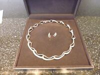 George Jensen link silver necklace with matching earings