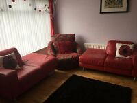 2 Red Real Leather Sofas For Sale