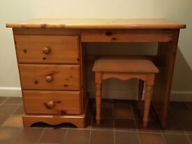 Pine Dressing Table with Matching Stool