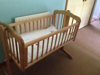 Baby rocking cradle/crib with new mattress