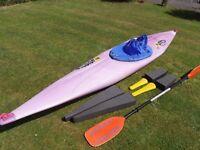 Scanro MI Designs Slalum 370 Pro Canoe - Kayak, with Buoyancy, Footrests, Paddle & Spraydeck