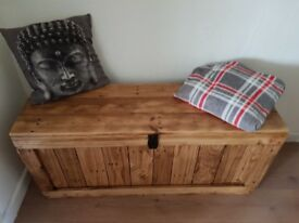 Large rustic wooden trunk BENCH/chest STORAGE/ottoman casket. Handcrafted/reclaimed, LOCAL DELIVERY.