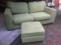 DFS SOFA AND FOOTSTOOL- MINT GREEN - LOVELY CONDITION