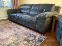 Leather (Rawhide) Sofa, Snuggle Chair & Pouffe in Grey