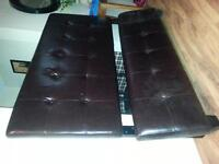 DARK BROWN LEATHER HEAD AND BASE BOARD