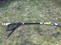 Ryobi Electric pole pruner hedge trimmer with extension pole, used to reach tall trees, bushes