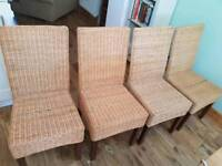 4 Wicker and wood dining chairs