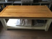Solid oak coffee table & side table