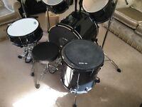 Pearl Vision VB 5 PC Black Drumkit 790 Hardware cymbals & StoolHardware