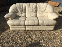 3 seater Leather Sofa with one side reclining