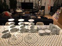 Tea Party Set: Glass Cake Stands, Porcelain Tiered Cake Stands, Tea Pots, Tea Cups & Saucers